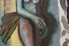 Lusine Breitscheidel — Frau Flamingo, 2018, Acryl auf Leinwand, 100 x 50 cm